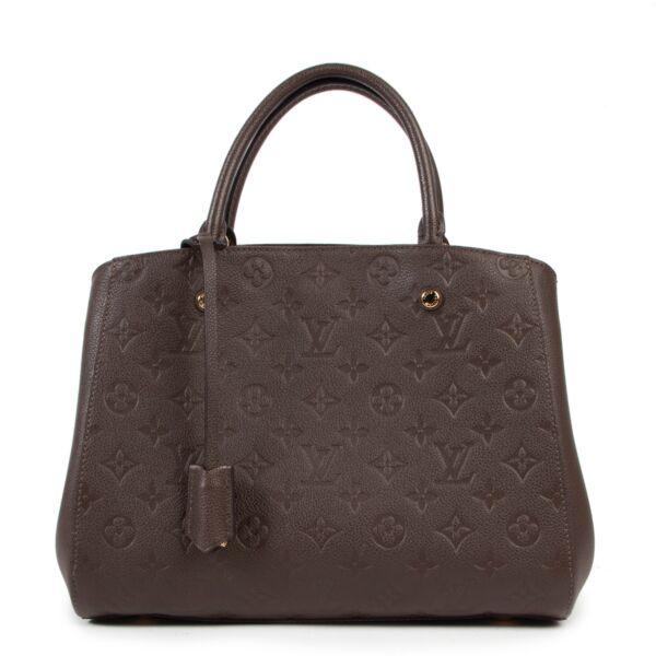 Shop safe online authentic Louis Vuitton Brown Monogram Montaigne MM Top Handle Bag at the right price.