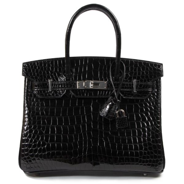 Buy Hermes Birkin 30 Black Crocodile Porosus PHW at the right price safe and secure at Labellov Antwerp