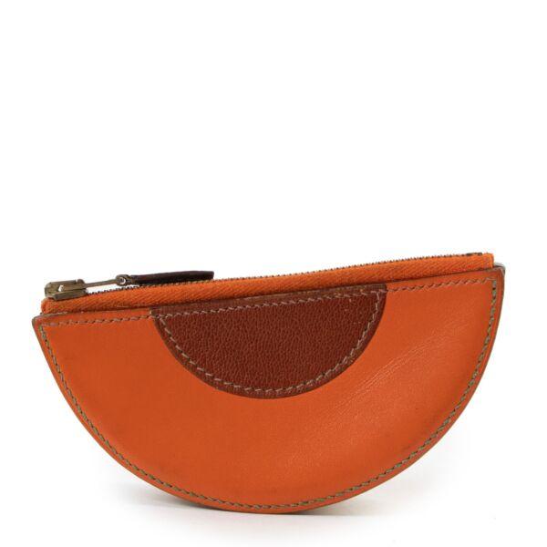 shop online authentic vintage Hermès Orange Melon Fruit Motif Coin Purse at Labellov