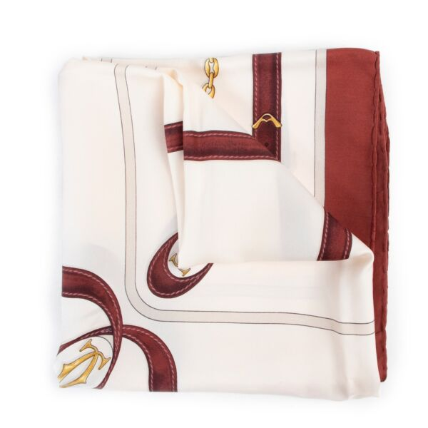 Shop safe online authentic second hand Must De Cartier White Scarf in good preloved condition at the right price at Labellov.com.