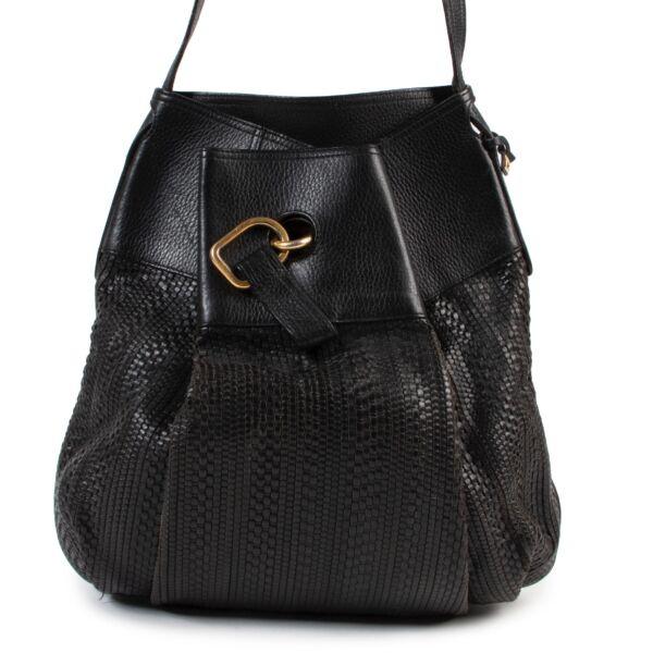 shop safe online Delvaux Black Leather Faust Crossbody Bag