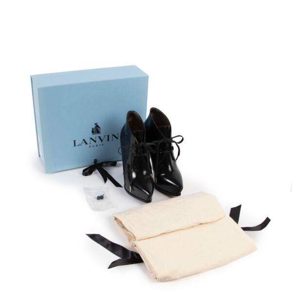 Lanvin Black Patent Leather Platform Booties - Size 36