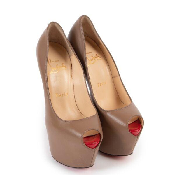 Christian Louboutin Taupe Peep-Toe Heels - Size 35,5