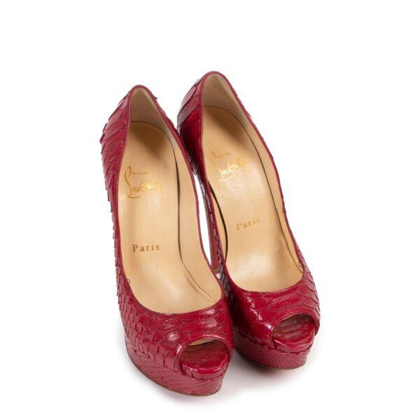 Christian Louboutin Red Python Heels - Size 35