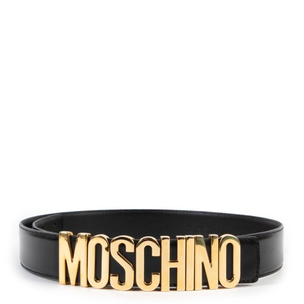 buy and sell second hand authentic Moschino Black Lettering Logo Leather Belt at Labellov for the best price