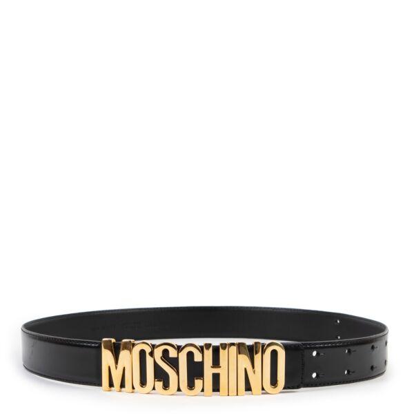 Moschino Black Lettering Logo Leather Belt - Size IT 44