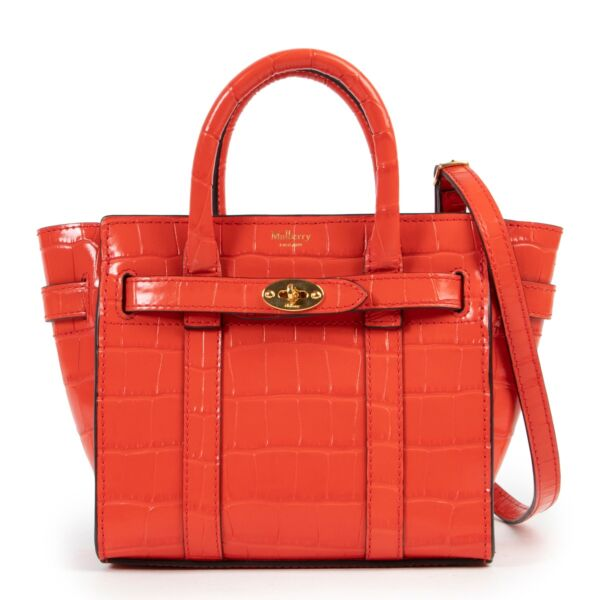 Mulberry Micro Zipped Bayswater Hibiscus Red Shiny Croc Crossbody Bag