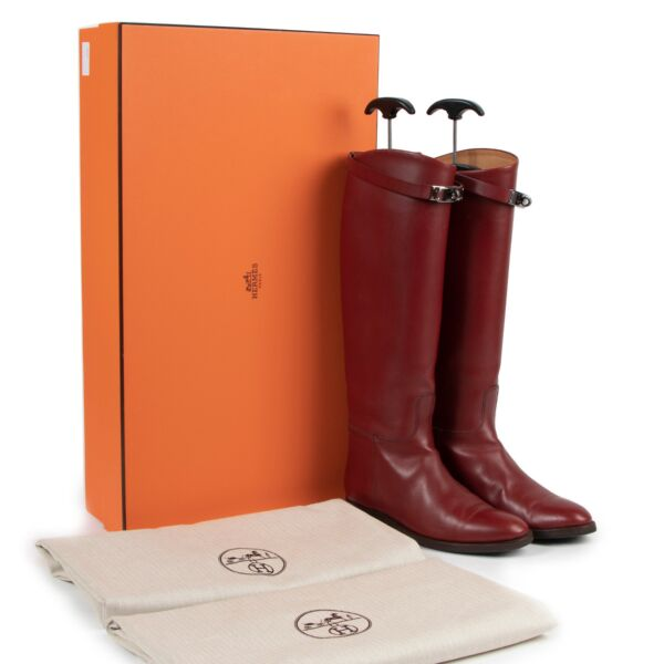 Hermes Red Leather Jumping Boots