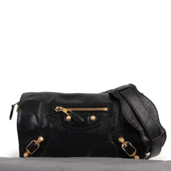 Balenciaga Black Leather Tool Kit Giant Studs Crossbody
