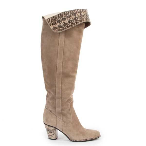 Christian Dior  Beige Suede Boots-Size 37  at Labellov online or in store available for a reasonable price and in good condition. Get them now!
