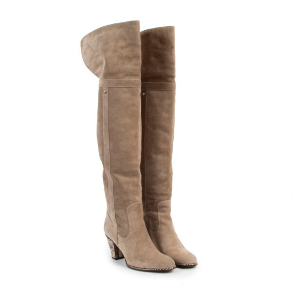 Christian Dior  Beige Suede Boots - Size 37