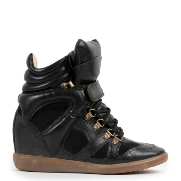 Isabel Marant Black Beckett Leather Trainers - Size 37
