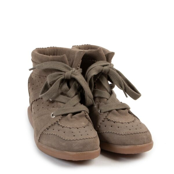 Isabel Marant Bobby Calf Suede Khaki Sneakers - Size 39