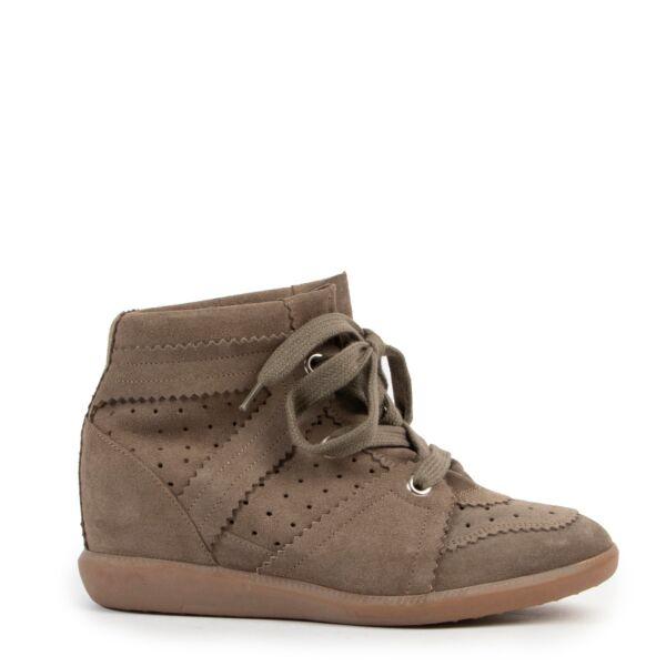 Isabel Marant Bobi Calf Suede Khaki Sneakers - Size 39