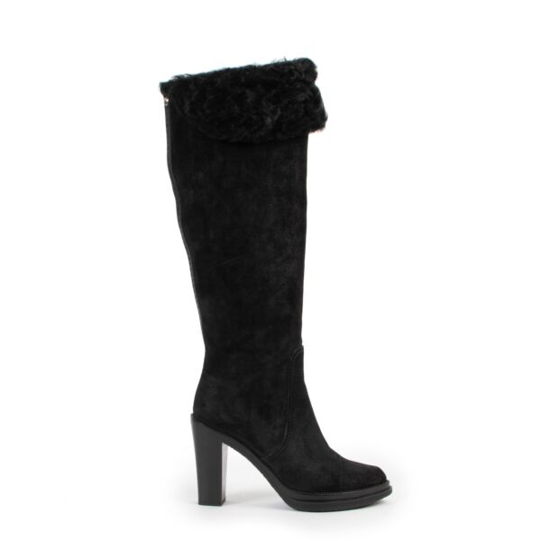 Louis Vuitton Black Suede Boots-Size 37  at Labellov online or in store available for a reasonable price and in good condition. Get them now!