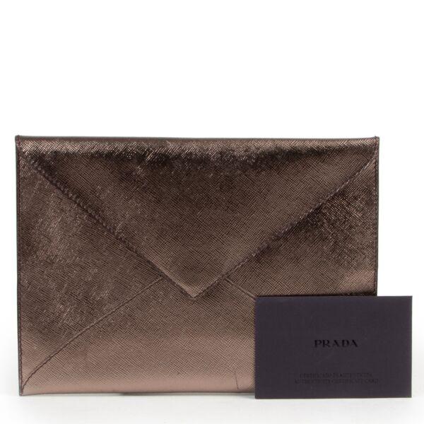 Prada Metallic Bronze Clutch Enveloppe
