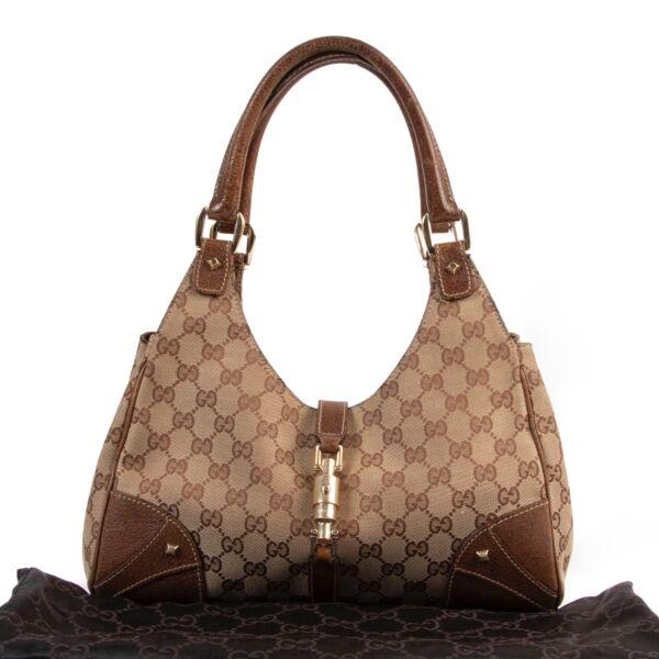 Gucci Monogram Canvas Bardot Shoulder Bag