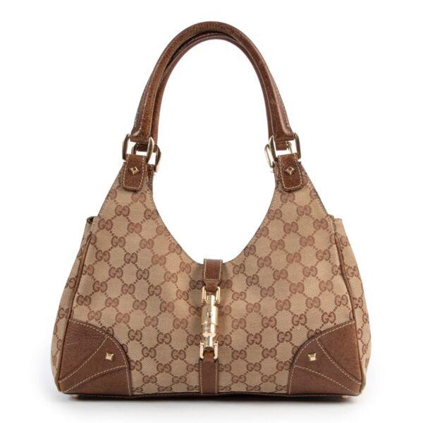 Shop safe online authentic second hand Gucci Monogram Canvas Bardot Shoulder Bag