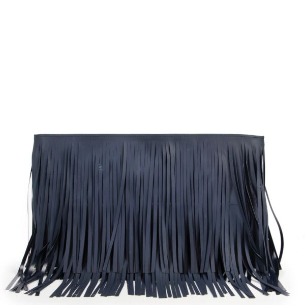 Shop safe online authentic Marni Dark Blue Fringe Clutch at the right price at Labellov.com.