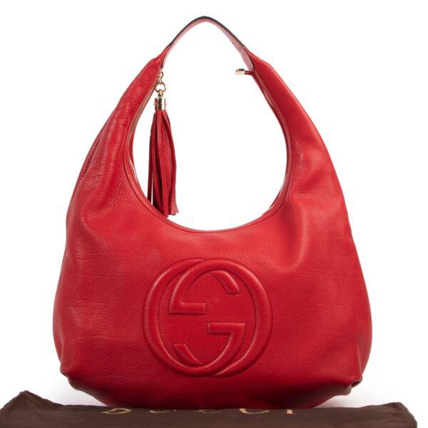 Gucci Red Soho Hobo Large Leather Shoulder Bag