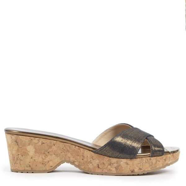 Authentic second-hand vintage Jimmy Choo Glitter Wedge Slides - Size 39 buy online webshop LabelLOV
