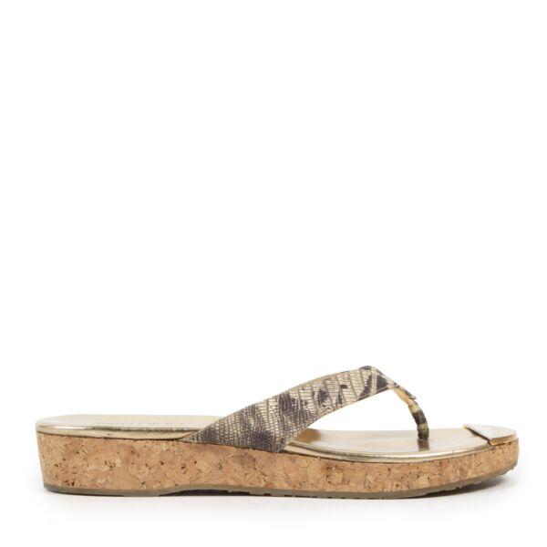 Authentieke Tweedehands Jimmy Choo Snake Print Slippers - Size 38 juiste prijs veilig online shoppen luxe merken webshop