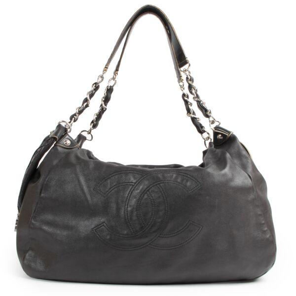 Authentieke Tweedehands Chanel Grey Leather Cabas Shopper Bag juiste prijs veilig online shoppen luxe merken webshop winkelen Antwerpen België mode fashion