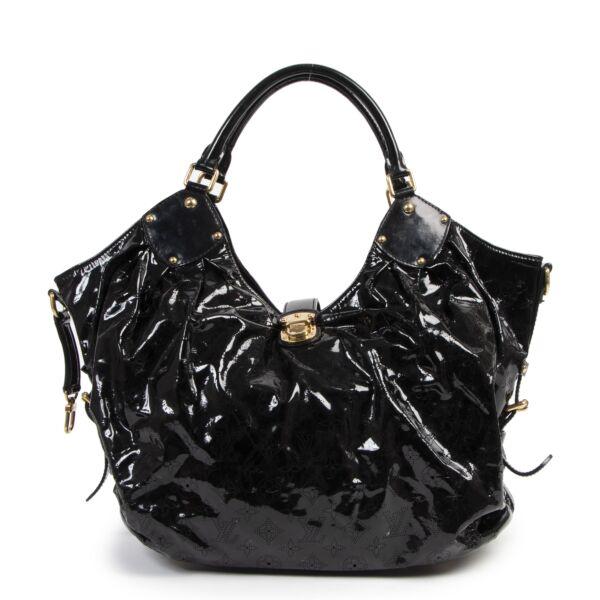 Authentic second-hand vintage Louis Vuitton Black Mahina Surya XL Hobo Bag buy online webshop LabelLOV