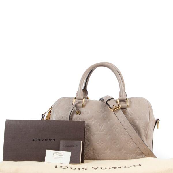Louis Vuitton Beige Speedy 25 Bandouliere Monogram Empreinte