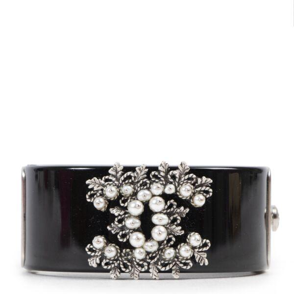 Chanel Black Floral Motif Acrylic Cuff Bracelet