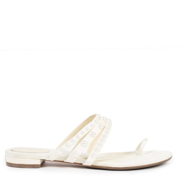 Authentic second-hand vintage Chanel White Pearl Toe Strap Sandals - Size 39,5 buy online webshop LabelLOV