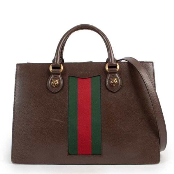 Gucci Brown Leather Animalier Top Handle