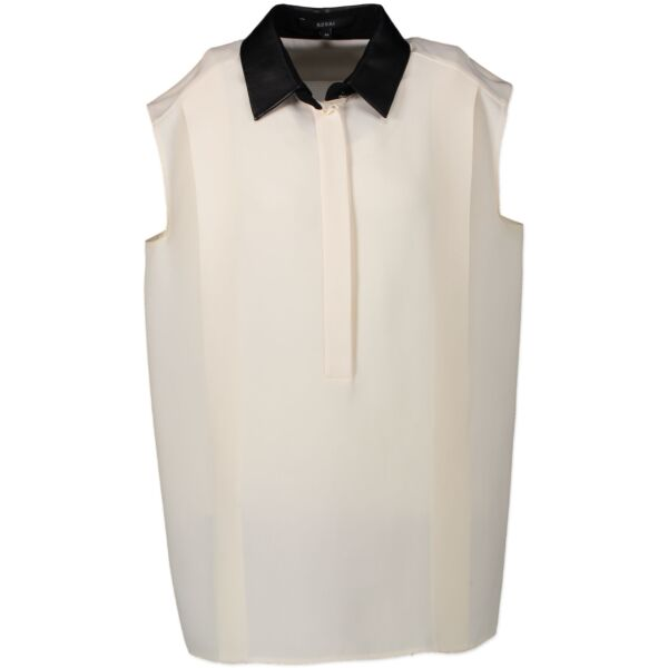 Gucci White Silk Shirt With Leather Collar - 46 IT - for the best price at Labellov secondhand luxury