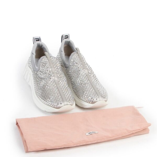 Miu Miu Silver Rhinestone Embellished Sneakers - Size 39