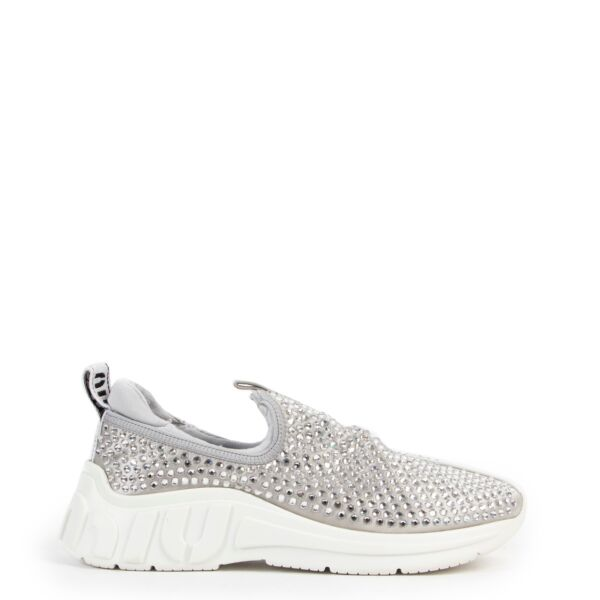 Shop safe online at Labellov in Antwerp these 100% authentic second hand Miu Miu Silver Rhinestone Embellished Sneakers - Size 39