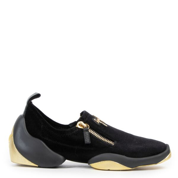 Guiseppe Zanotti Velvet Slip-on Trainers available online at Labellov secondhand luxury in Antwerp