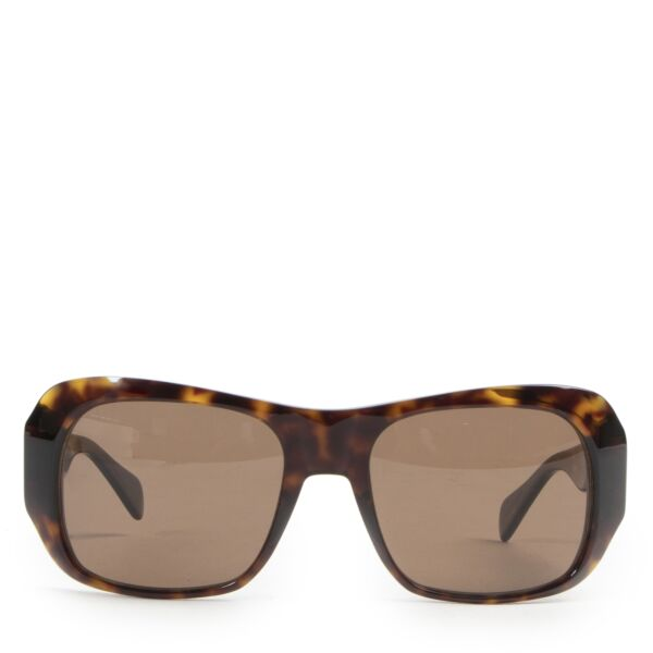 Authentic secondhand Céline Rectangular 0049 Dark Havana Sunglasses designer accessories fashion luxury vintage webshop safe secure online shopping