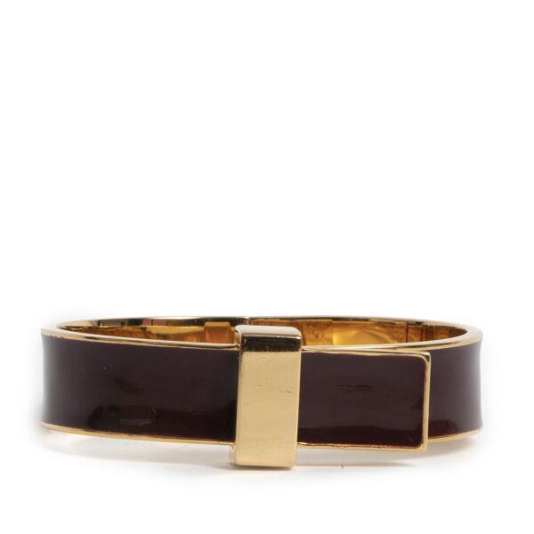 Authentieke Tweedehands Céline Brown Enamelled Bracelet - Size Medium juiste prijs veilig online shoppen luxe merken webshop winkelen Antwerpen België mode fashion