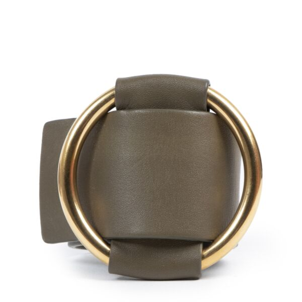 Authentic secondhand Céline Khaki Leather Bracelet - Size Medium designer accessories fashion luxury vintage webshop safe secure online shopping