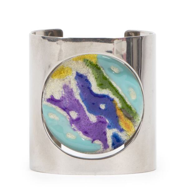 Céline Silver With Multicolor Touch Cuff Bracelet