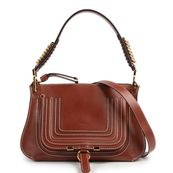 Shop safe online this Chloé Marcie bag in brown leather.