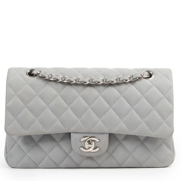Chanel Grey Suede Caviar Leather Medium Classic Flap Bag
