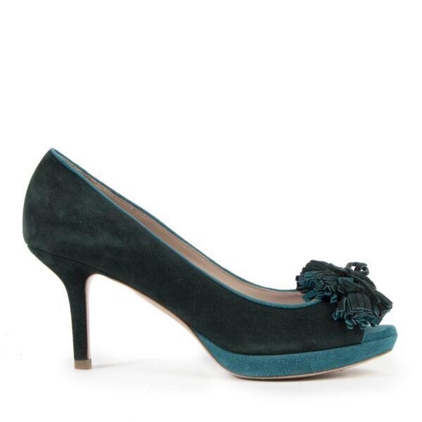 Authentieke Tweedehands Miu Miu Green Suede Peeptoe Pumps - Size 38 juiste prijs veilig online shoppen luxe merken webshop winkelen Antwerpen België mode fashion