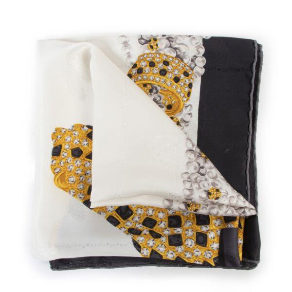 Original 2nd hand Cartier White Silk Scarf for sale on Labellov luxury vintage for designer goods