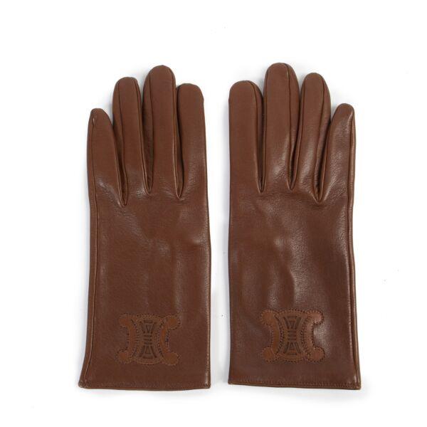 Celine Vintage Brown Leather Gloves aan de beste prijs Labellov tweedehands luxe