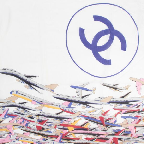 Chanel White Airplane Scarf
