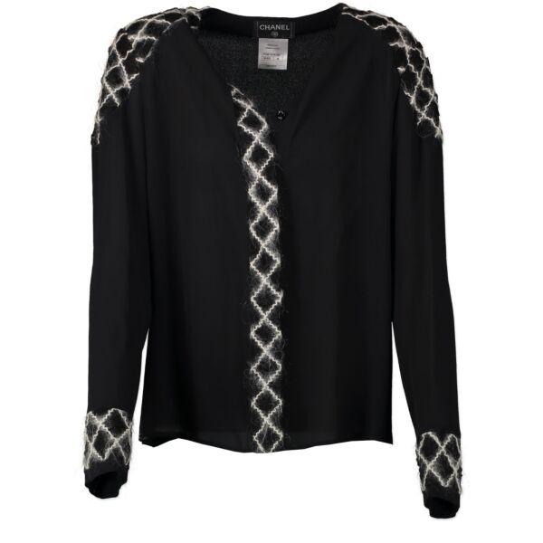 Authentieke Tweedehands Chanel Black Silk Blouse - Size FR38 juiste prijs veilig online shoppen luxe merken webshop winkelen Antwerpen België mode fashion