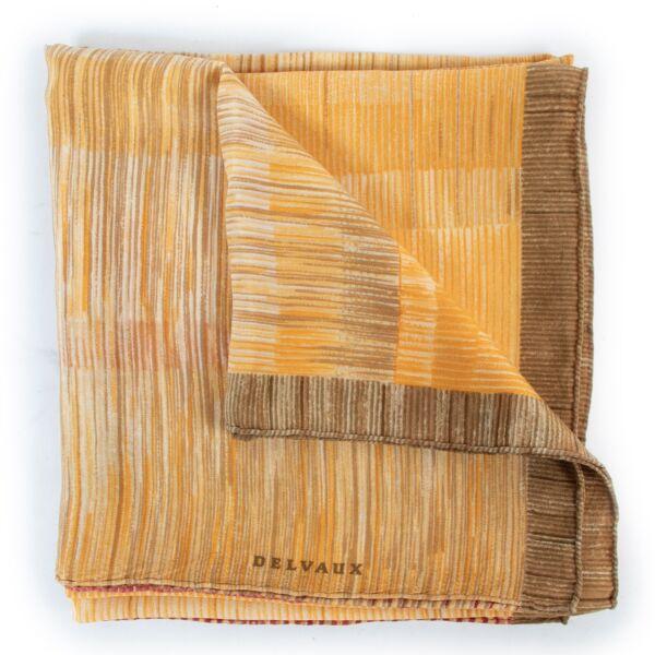 Original Delvaux Yellow Silk Scarf for sale on Labellov website for 2nd hand preloved designer goods