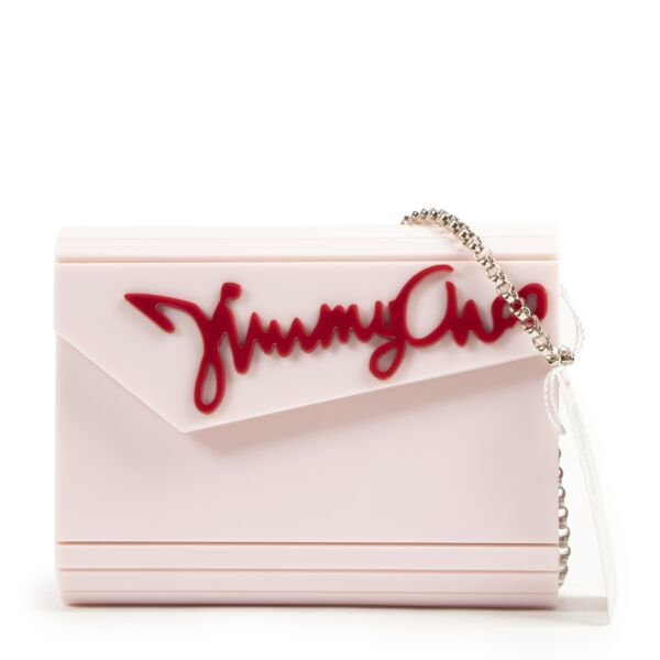Jimmy Choo Acrylic Pink Logo Box Bag for the best price at Labellov secondhand luxury