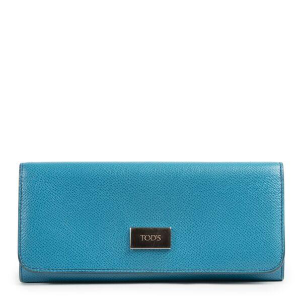 Authentieke Tweedehands Tods Blue Leather Long Wallet juiste prijs veilig online shoppen luxe merken webshop winkelen Antwerpen België mode fashion